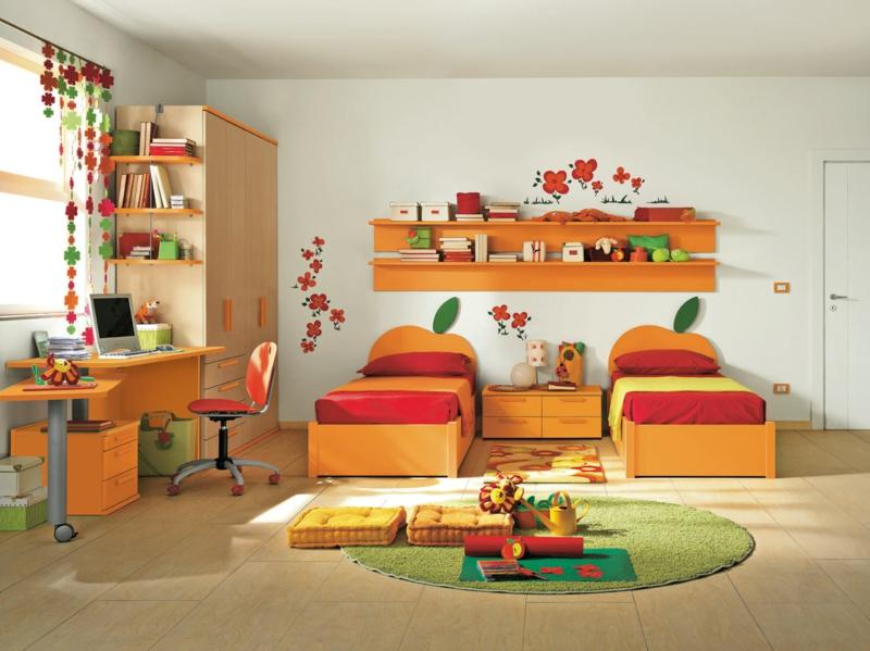 Mädchen Kinderzimmer komplett Set warme Farben rot orange Jugendzimmer