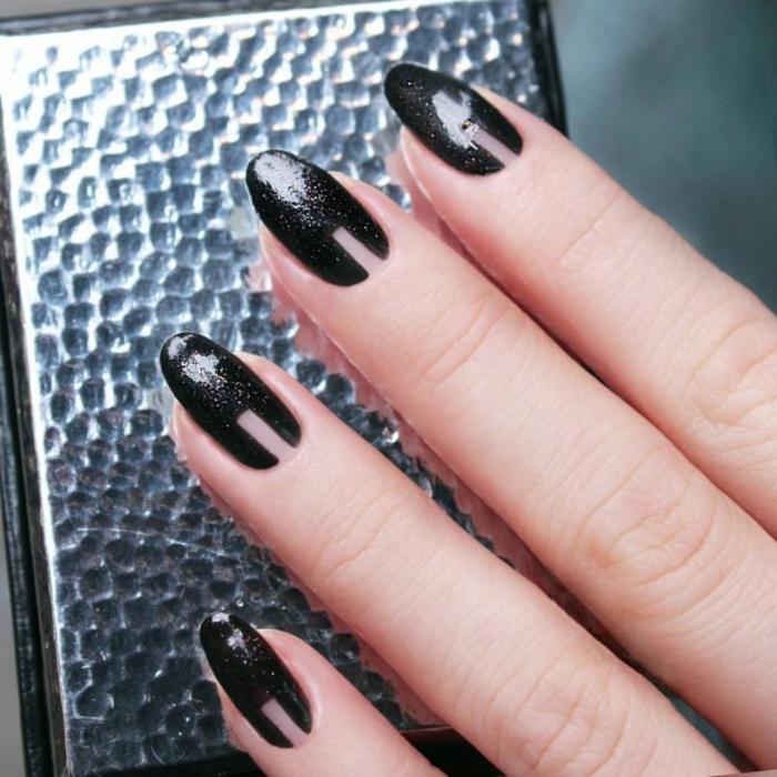 Nageldesign Bilder schwarz glitter Fingernägel Trends