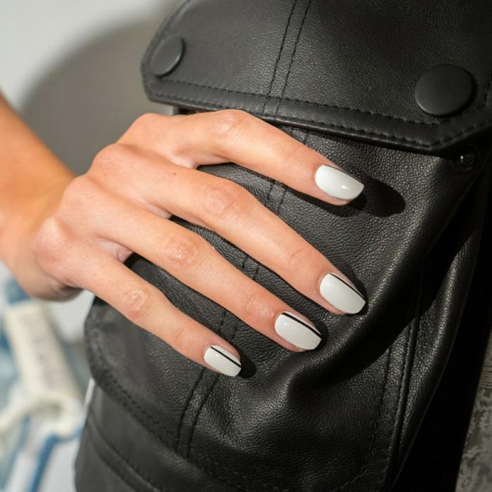 Nageldesign Ideen schwarz weiß Fingernägel Trends