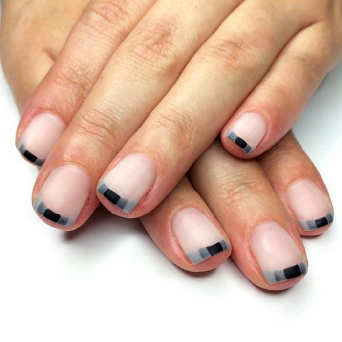 Nageldesign french grau Muster Fingernägel Trends