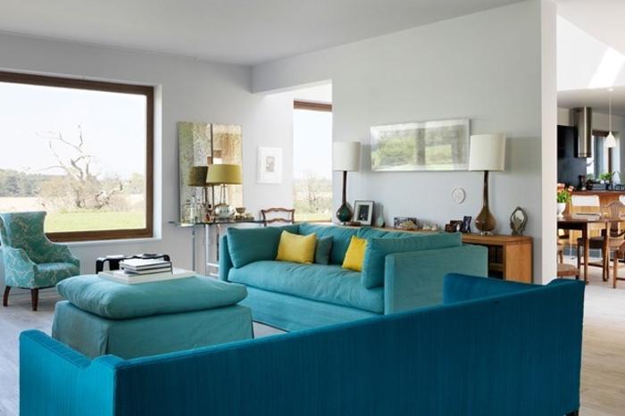 Raumgestaltung Ideen Wohnzimmer Möbel Blau