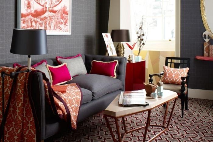 Raumgestaltung Ideen Wohnzimmer Möbel Wandfarbe Grau