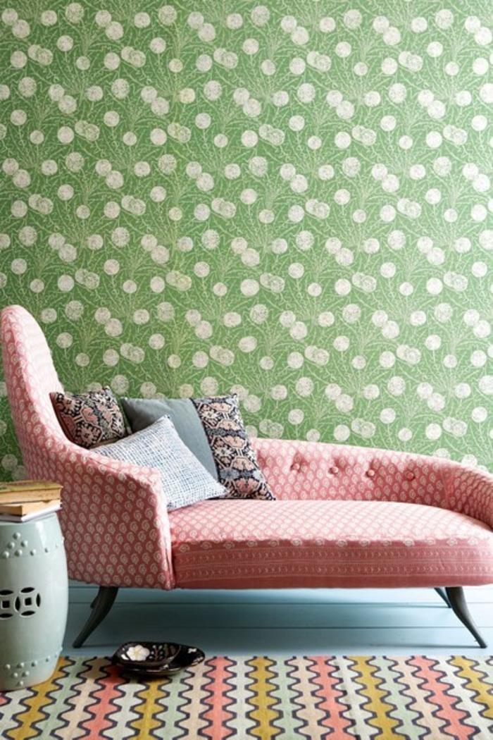 Raumgestaltung Ideen Wohnzimmer Möbel rosa Sofa