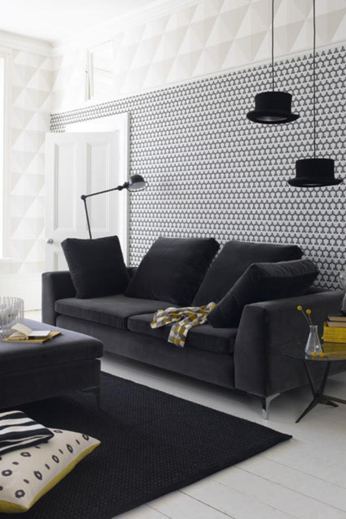 Raumgestaltung Ideen Wohnzimmer Möbel schwarz weiße Farbgestaltung