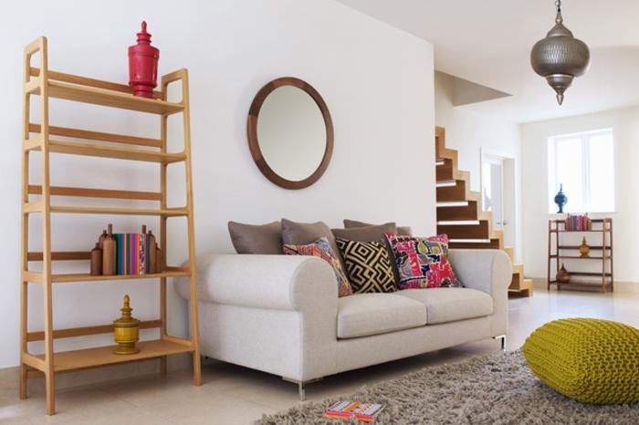 Raumgestaltung Ideen Wohnzimmer Sofa Holzregal