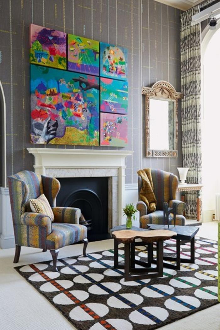 Raumgestaltung Ideen Wohnzimmer Wandgestaltung über dem Kamin