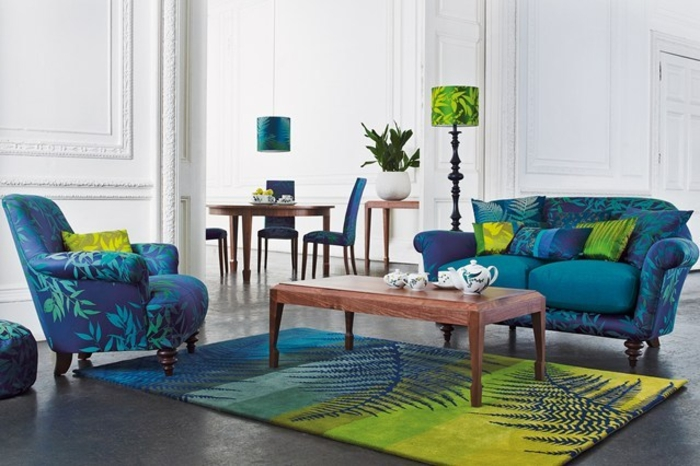 Raumgestaltung Ideen blaue Wohnzimmer Möbel