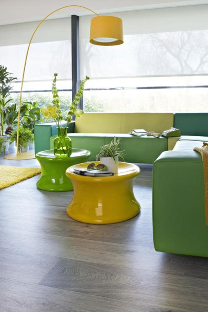 Raumgestaltung Ideen moderne Wohnzimmer Möbel Gelb Grün
