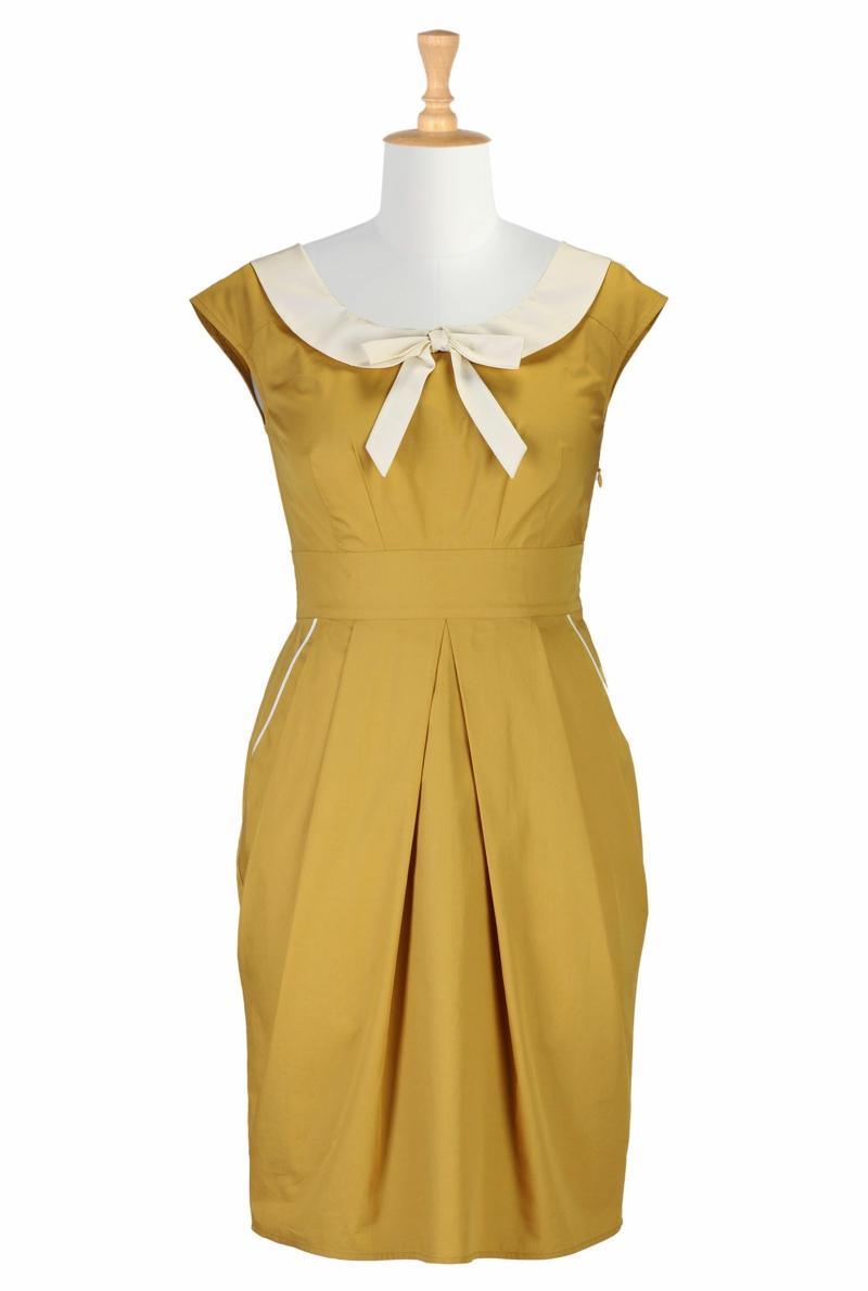Vintage Mode Damen 60er Jahre Retro Kleid gelb