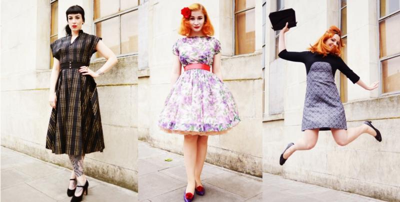 Vintage Mode Damen Retro Kleider verschiedene Epochen
