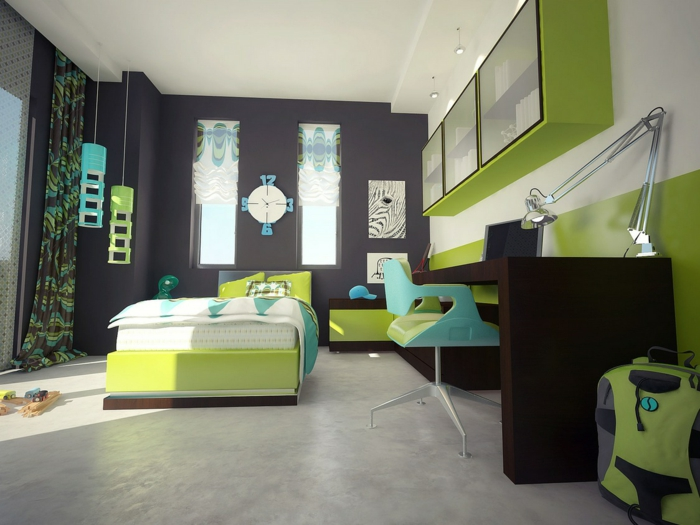 Wände streichen ideen akzentwand kinderzimmer grüne möbel graue ...