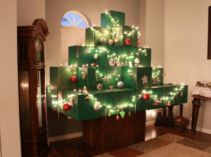 Weihnachtsbasteln Tannenbaum basteln Boxen