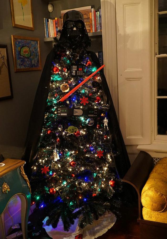 Weihnachtsbasteln Tannenbaum basteln Darth Vader Weihnachtsbaum