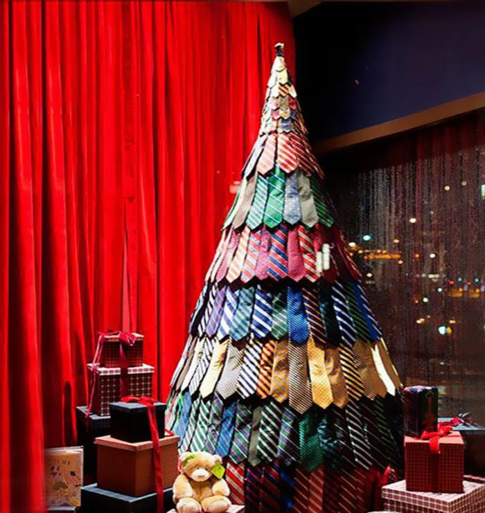 Weihnachtsbasteln Tannenbaum basteln Krawatten Weihnachtsbaum selber basteln