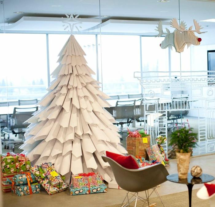 Weihnachtsbasteln Tannenbaum basteln Weihnachtsbaum Papier weiß