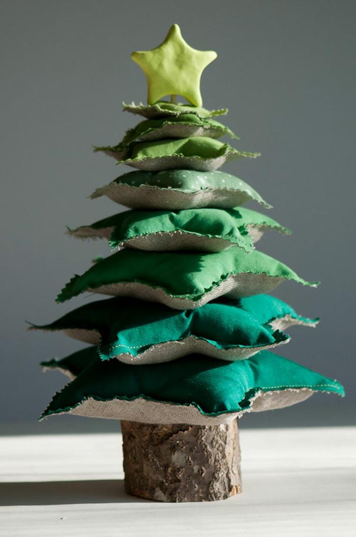 Weihnachtsbasteln Tannenbaum basteln Weihnachtsbaum grüne Deko Kissen