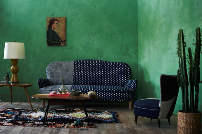 Wohnraumgestaltung Ideen modernes Wohnzimmer Wqandfarbe Grün