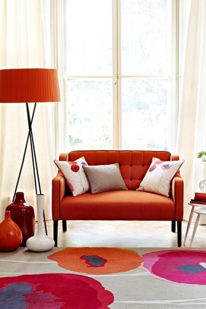 Wohnraumgestaltung farbige Wohnzimmer Möbel Orange Einrichtungsbeispiele