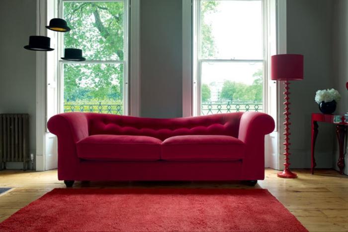 Wohnraumgestaltung modernes Wohnzimmer Sofa Rot