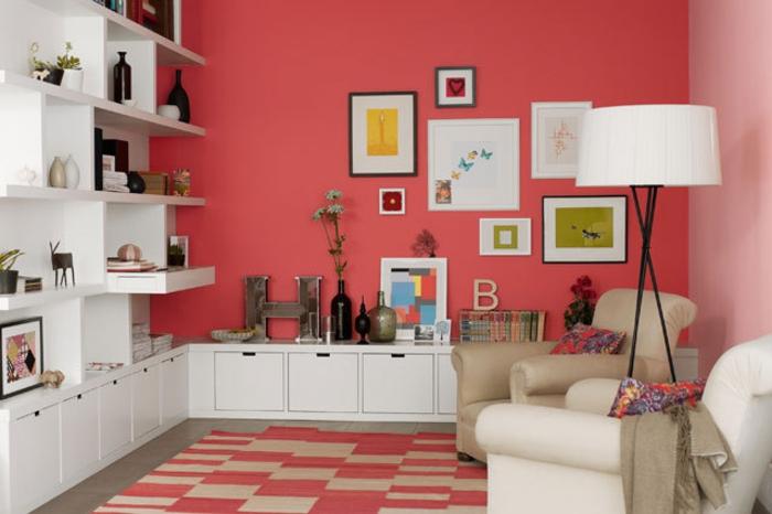 Wohnraumgestaltung rote Wandfarbe Wohnzimmer Einrichtungsbeispiele