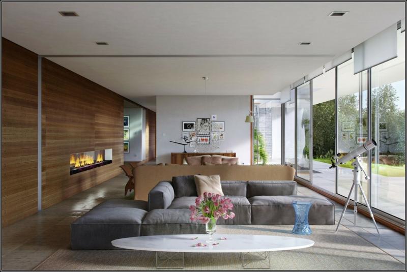 moderne häuser mit gemütlicher innenarchitektur : kühles traum ...