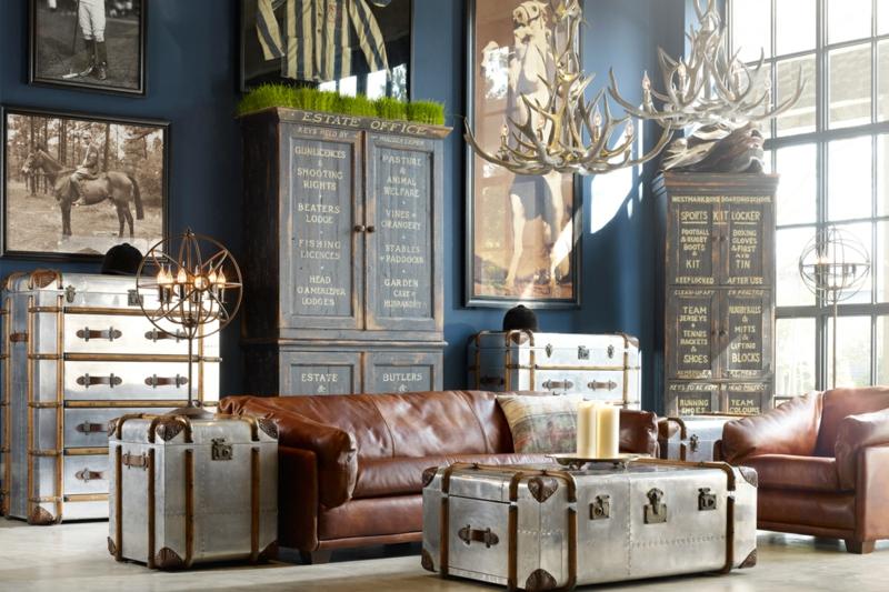 Wohnzimmerwand Ideen rustikales Wohnzimmer dekorieren Wohnzimmermöbel