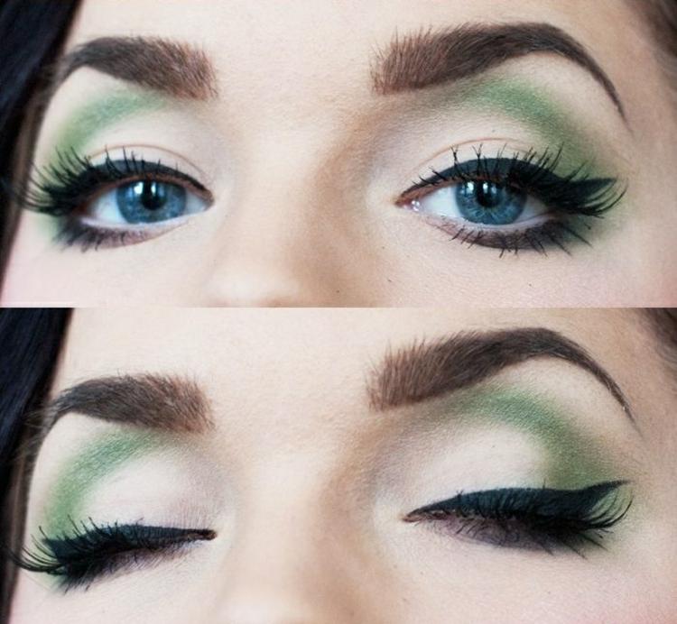 aktuelle Damenfrisuren 2016 und Schminktipps Augen grüne Lidschatten