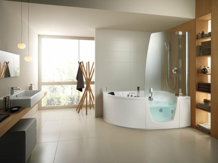 badeinrichtung badewanne eckmöbel pendelleuchten offene regale