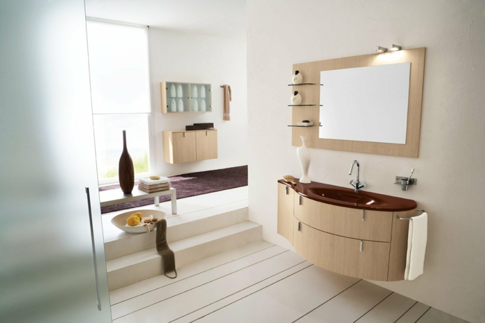 badeinrichtung feng shui helle wände waschbecken stauraum treppen