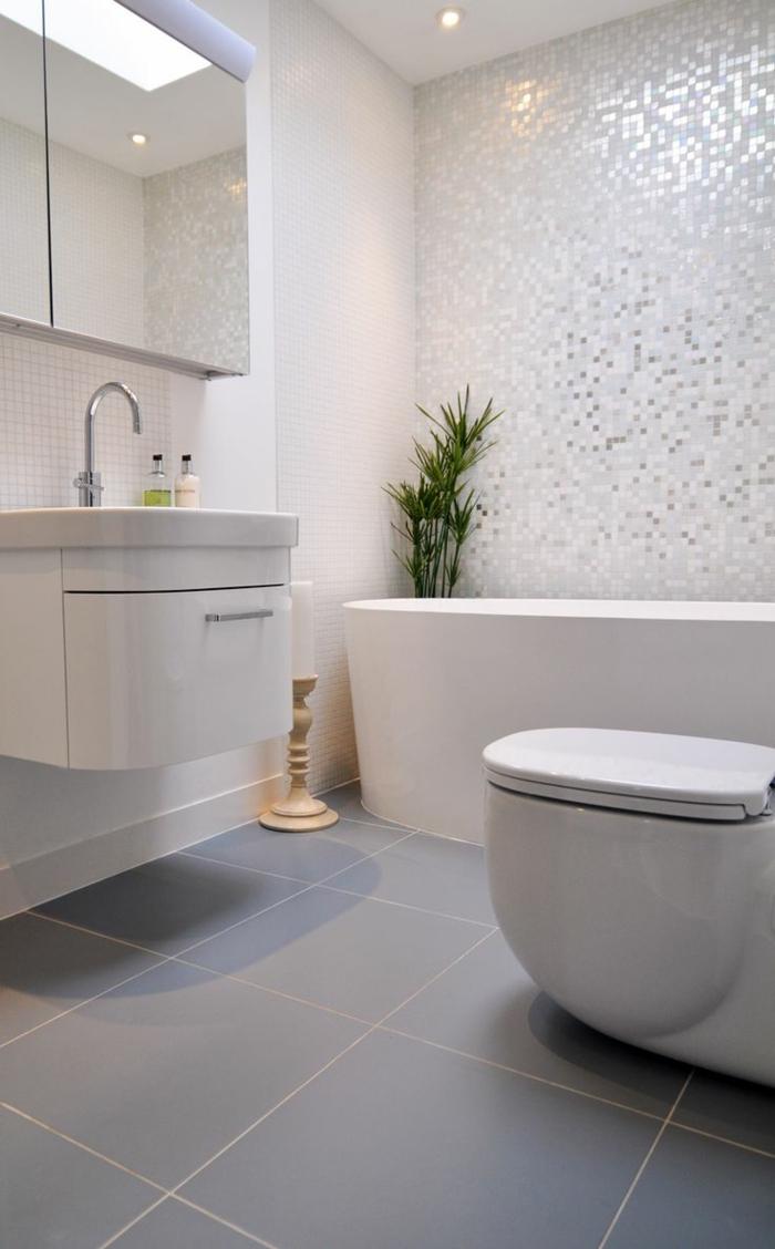 badeinrichtung ideen pflanzen weiße möbel graue bodenfliesen