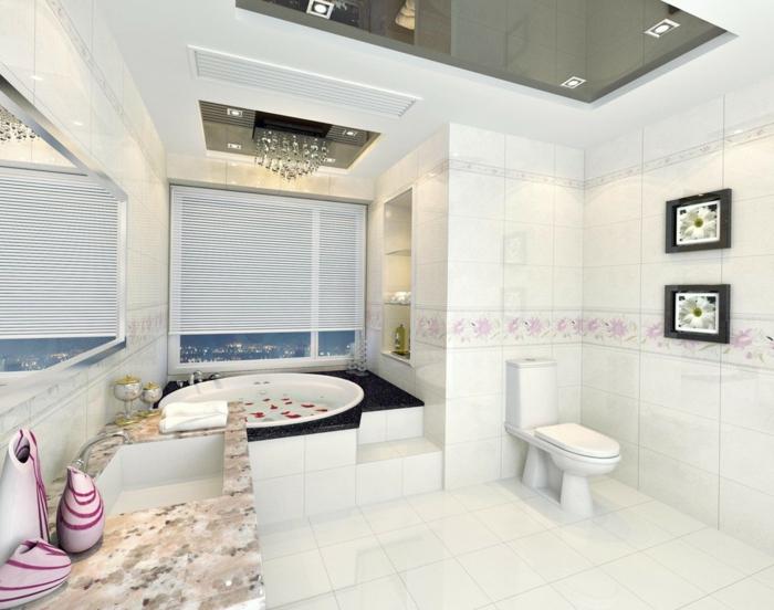 badezimmer gestalten badewanne fenster weiße badfliesen