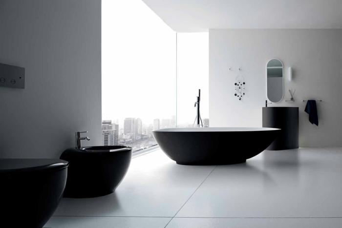 badezimmer gestalten dunkle badmöbel weiße bodenfliesen badspiegel