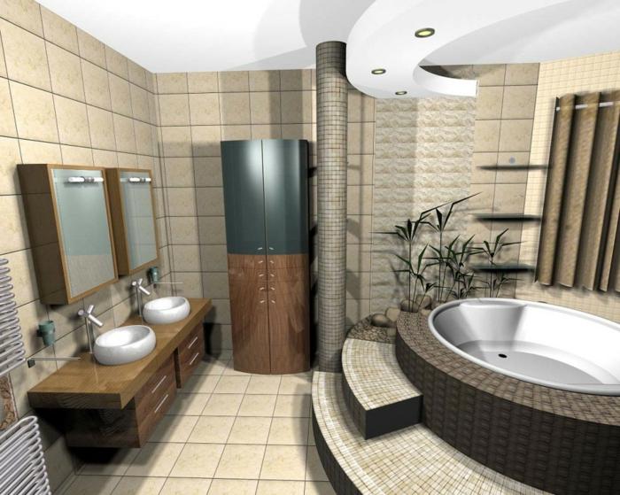 badezimmer gestalten feng shui badfliesen moderne badewanne