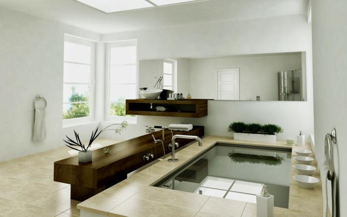 Badezimmer Gestalten Ideen Fenster Pflanzen Badfliesen
