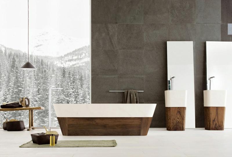 braune Wandfarbe Badezimmer Betonwände Holzmöbel