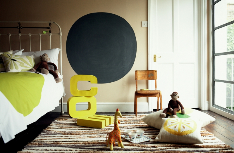 braune Wandfarbe Kinderzimmer Farben Wandgestaltung mit Farbe
