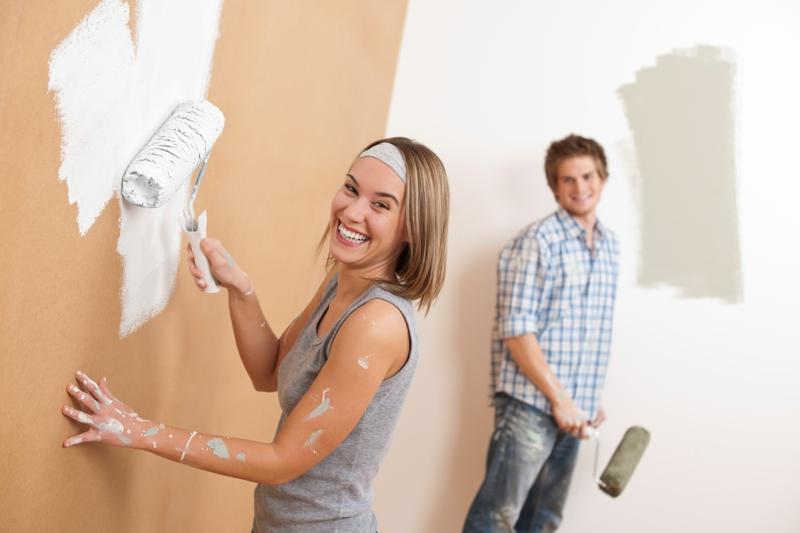 braune Wandfarbe Wände streichen Wandgestaltung mit Farbe