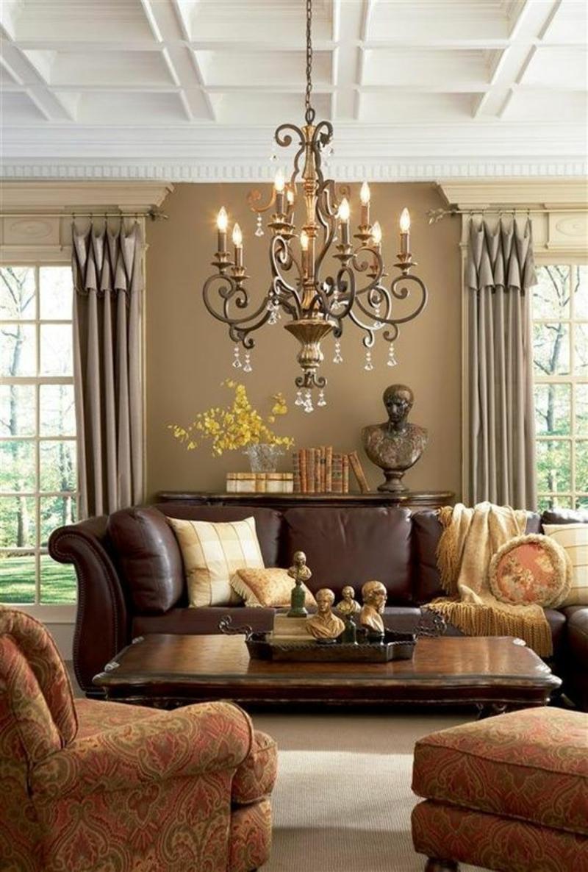 Braune Wandfarbe Klassisches Wohnzimmer Wandgestaltung Mit Farbe