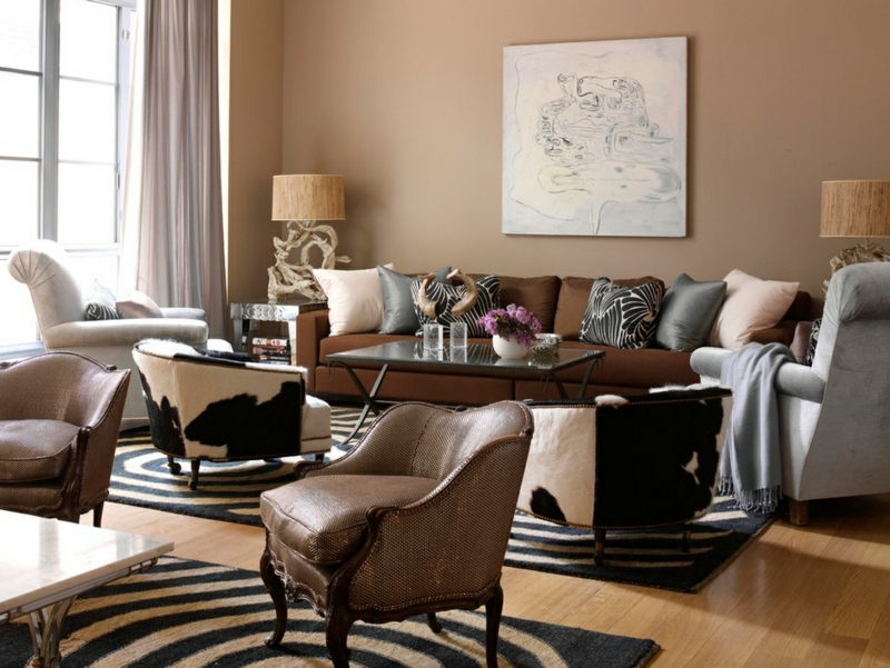 Braune Wandfarbe Rustikales Wohnzimmer Wandgestaltung Ideen