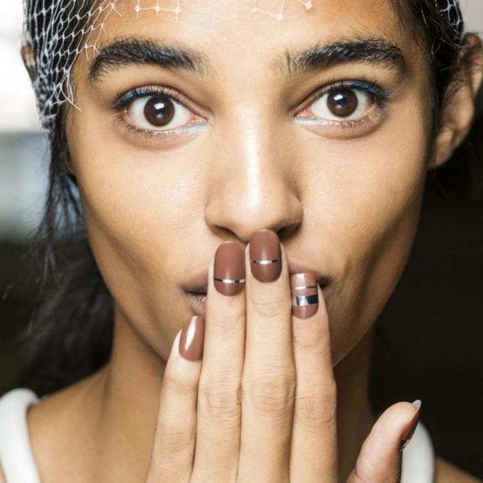 coole Nageldesigns Bildergalerie Fingernägel Trends Braun Silber