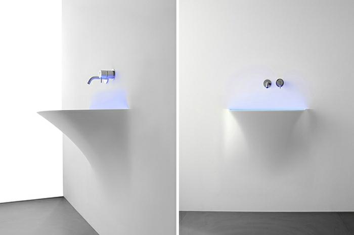 design waschbecken futuristisches design neon licht