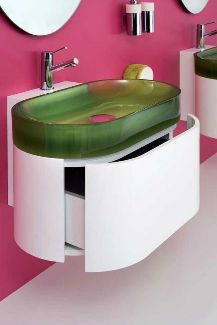 designer waschbecken grünes glas bilinterior
