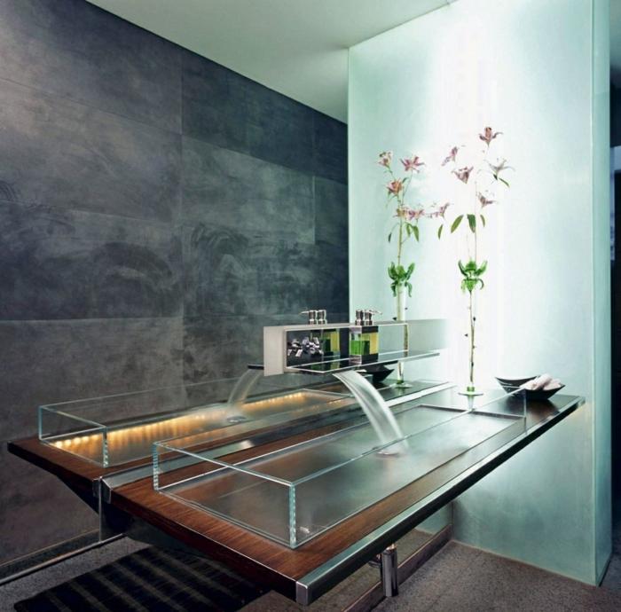 design waschbecken zen glasscheiben wasserfall modell