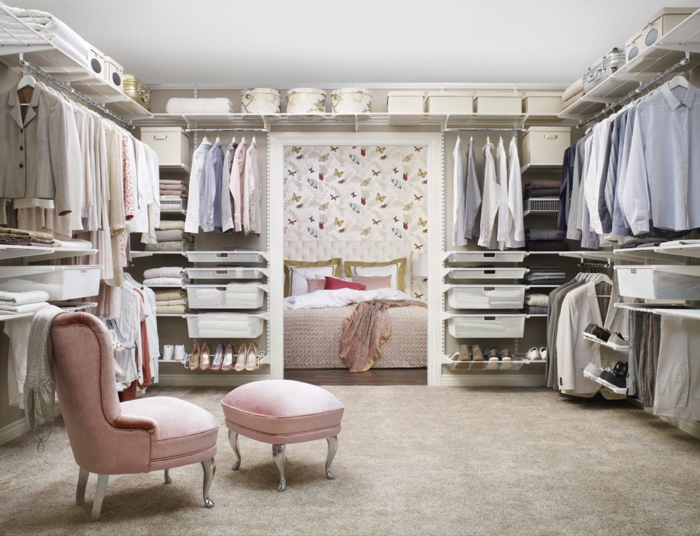 einrichtungsideen ankleidezimmer einrichten offener kleiderschrank