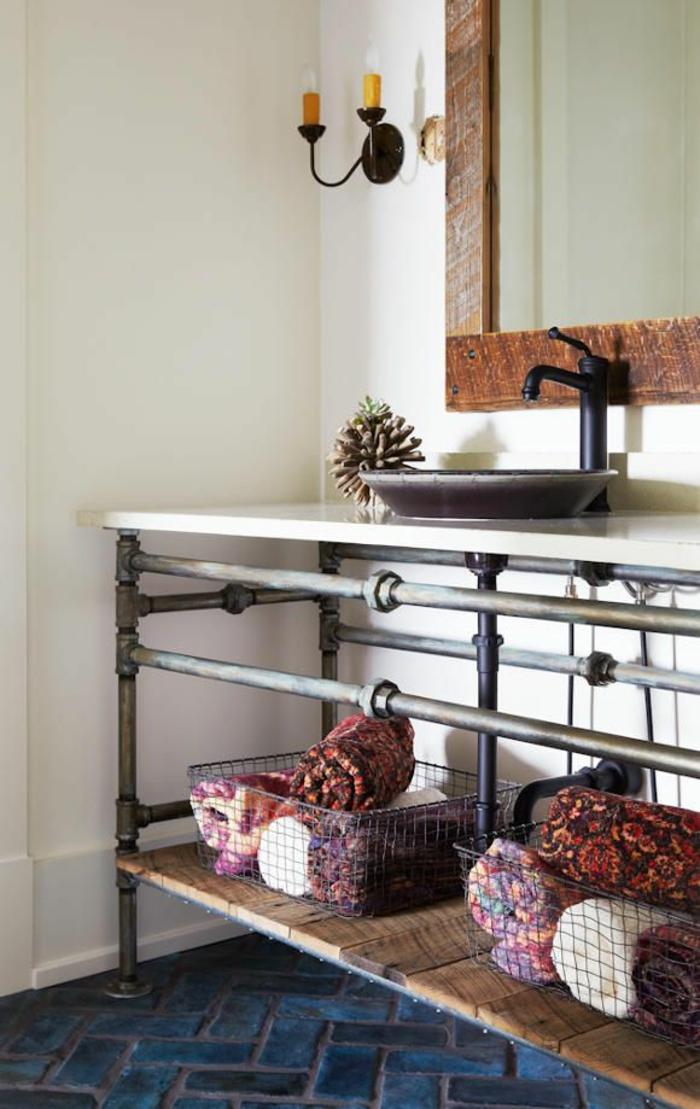 einrichtungsideen wohnen röhre badezimmer diy industrieller stil regale badetücher wohnidee