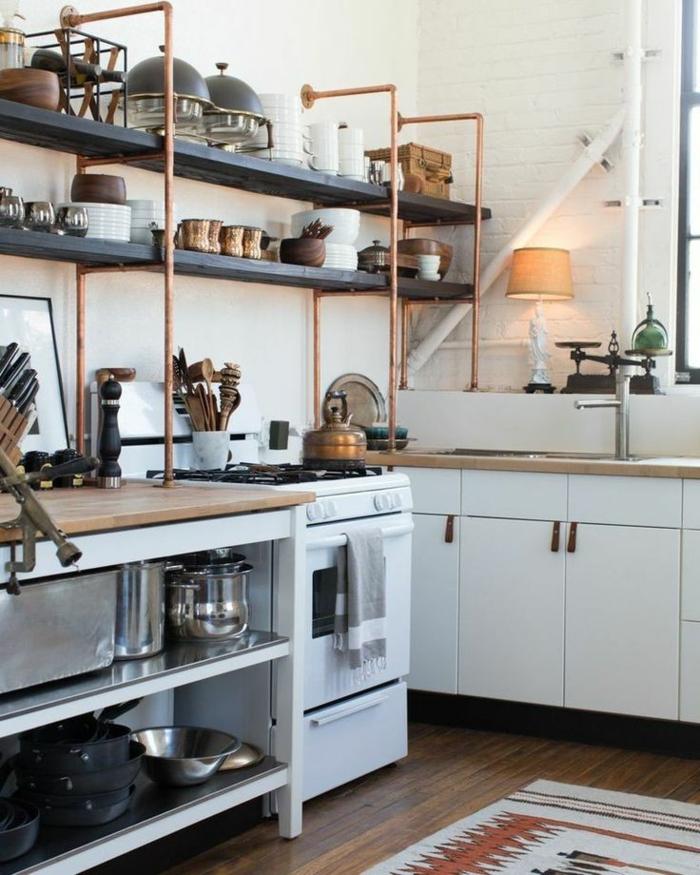 einrichtungsideen wohnen röhre küchenregale selber bauen kupfer