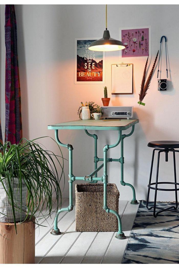 einrichtungsideen wohnen röhren diy tisch schreibtisch home office wohnidee
