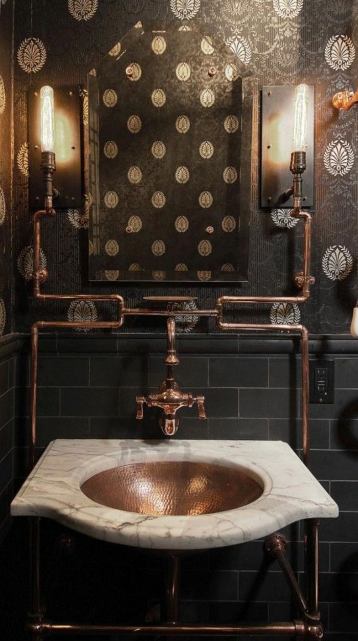 einrichtungsideen wohnen röhren kupfer badezimmer waschbecken marmor wohnidee