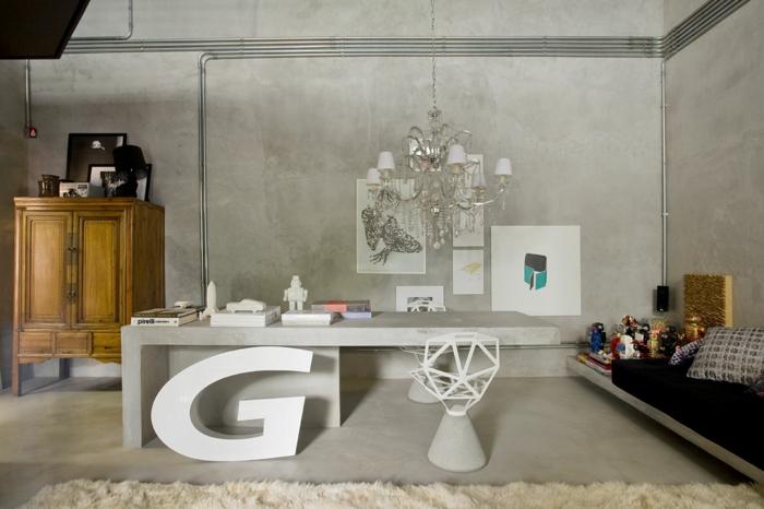einrichtungsideen wohnen röhren silber glanz home office industrieller stil