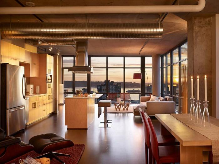 einrichtungsideen wohnidee röhren offen lassen küche esszimmer offener plan eames chair